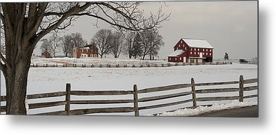 Sherfy Farm In The Snow At Gettysburg Metal Print by Greg Dale