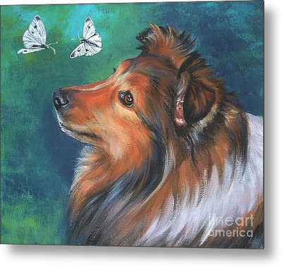 Shetland Sheepdog And Butterfly Metal Print by Lee Ann Shepard