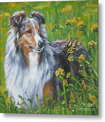 Shetland Sheepdog Wildflowers Metal Print by Lee Ann Shepard