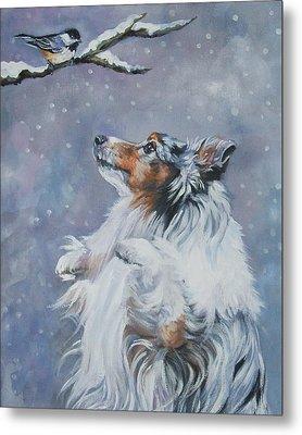 Shetland Sheepdog With Chickadee Metal Print by Lee Ann Shepard