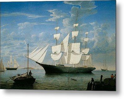 Ship Star Light In Boston Harbor Metal Print by Fitz Hugh Lane