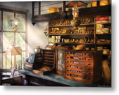 Shoe Maker - Shoes For Sale Metal Print by Mike Savad