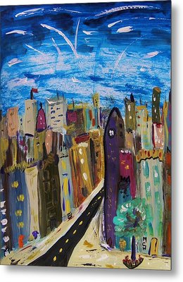 Shooting Stars Over Old City Metal Print by Mary Carol Williams