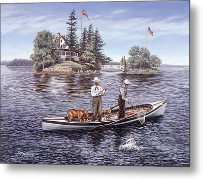Shore Lunch On The Line Metal Print by Richard De Wolfe