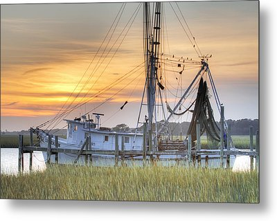 Shrimp Boat Sunset Charleston Sc Metal Print by Dustin K Ryan