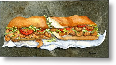 Shrimp Po Boy Metal Print by Elaine Hodges