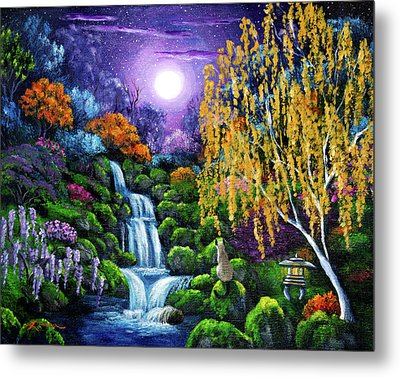 Siamese Cat By A Cascading Waterfall Metal Print by Laura Iverson