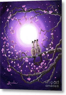 Siamese Cats In Pink Blossoms Metal Print by Laura Iverson