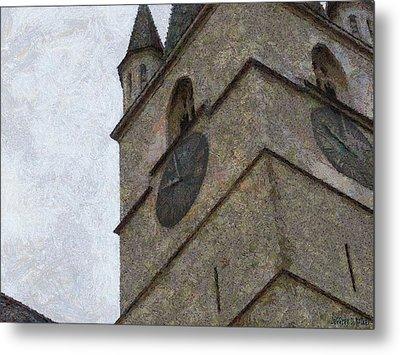 Sibiu Clock Tower Metal Print by Jeff Kolker