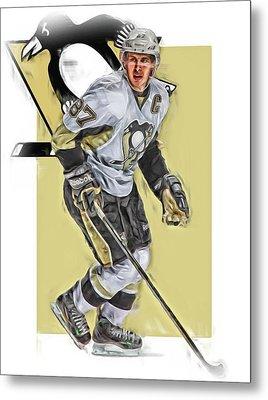 Sidney Crosby Pittsburgh Penguins Oil Art Metal Print by Joe Hamilton