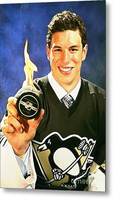 Sidney Crosby Watercolor Digital Painting Metal Print by John Malone