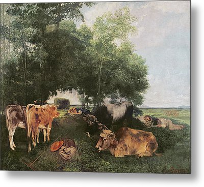 Siesta At Haymaking Time Metal Print by Gustave Courbet