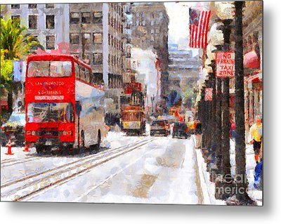 Sightseeing Along Powell Street In San Francisco California . 7d7269 Metal Print by Wingsdomain Art and Photography