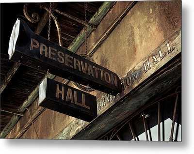 Signboard On A Building, Preservation Metal Print by Panoramic Images