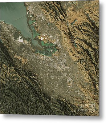 Silicon Valley Topographic Map Natural Color Top View Metal Print by Frank Ramspott