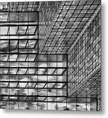 Silver Squares Metal Print by Greetje Van Son
