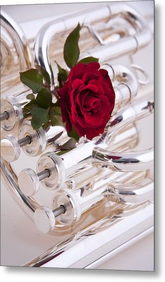 Silver Tuba With Red Rose On White Metal Print by M K  Miller