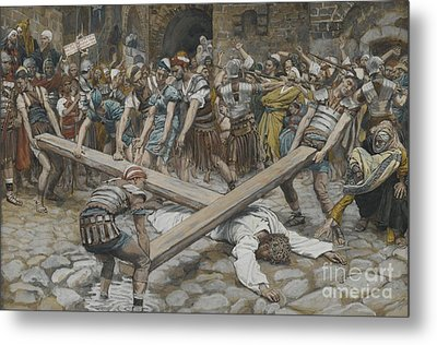 Simon The Cyrenian Compelled To Carry The Cross With Jesus Metal Print by Tissot
