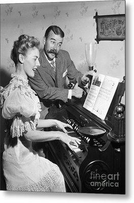 Singing Couple In 19th Century Dress Metal Print by Debrocke/ClassicStock