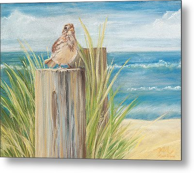 Singing Greeter At The Beach Metal Print by Michelle Wiarda