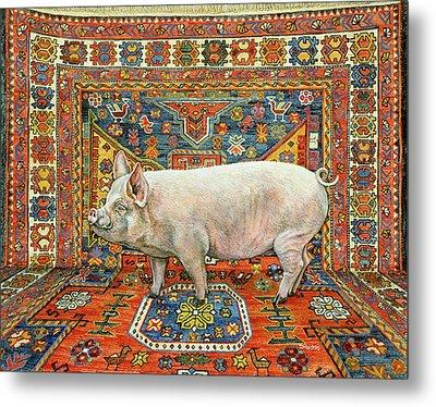 Singleton Carpet Pig Metal Print by Ditz