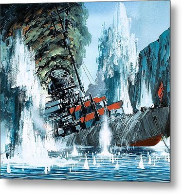 Sinking Of The Tirpitz Metal Print by Mike Tregenza