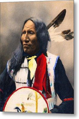 Sioux Chief Portrait Metal Print by Georgiana Romanovna