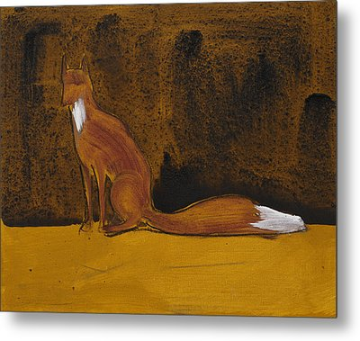 Sitting Fox In Iron Oxide And Lime Metal Print by Sophy White