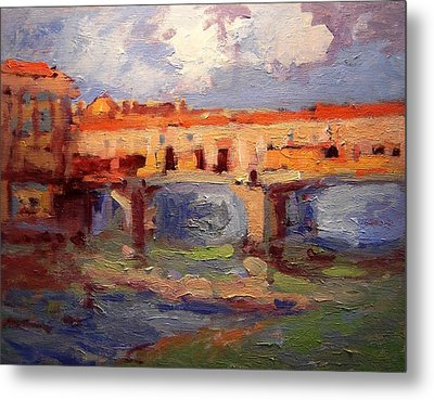 Sketch For Ponte Vecchio In Afternoon Light Metal Print by R W Goetting