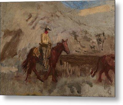 Sketch Of A Cowboy At Work  Metal Print by Thomas Eakins