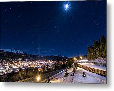 Ski Hill Under Moonlight Metal Print by Michael J Bauer