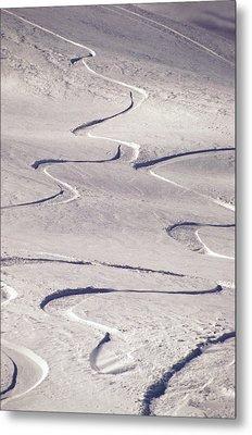 Skiing Tracks Metal Print by John Foxx