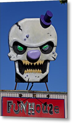 Skull Fun House Sign Metal Print by Garry Gay