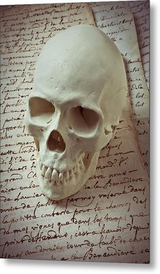 Skull On Old Letters Metal Print by Garry Gay