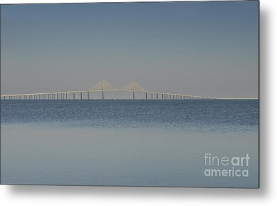 Skyway Bridge In Blue Metal Print by David Lee Thompson