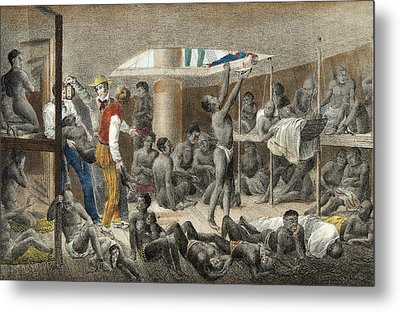 Slave Ship Below Deck Metal Print by Johann Moritz Rugendas
