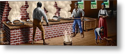 Slaves Refining Sugar Cane Jamaica Train Historical Old South Americana Life  Metal Print by Walt Curlee