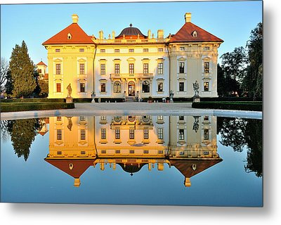 Slavkov Castle Reflected In Water Metal Print by Martin Capek