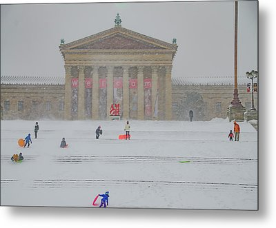 Sledding On The Steps - Philadelphia Art Museum Metal Print by Bill Cannon