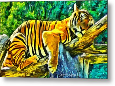 Sleeping Tiger - Da Metal Print by Leonardo Digenio