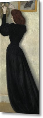 Slender Woman With Vase Metal Print by Jozsef Rippl Ronai