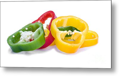 Sliced Colorful Peppers Metal Print by Meirion Matthias