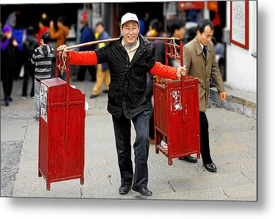Slices Of Chinese Life Metal Print by Christine Till
