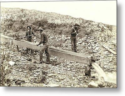 Sluice Box Placer Gold Mining C. 1889 Metal Print by Daniel Hagerman