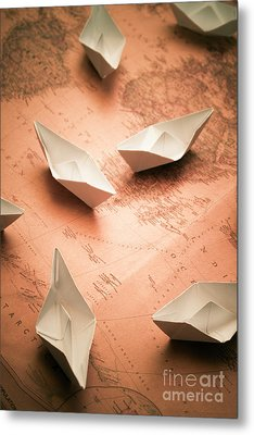 Small Paper Boats On Top Of Old Map Metal Print by Jorgo Photography - Wall Art Gallery