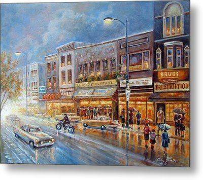 Small Town On A Rainy Day In 1960 Metal Print by Regina Femrite