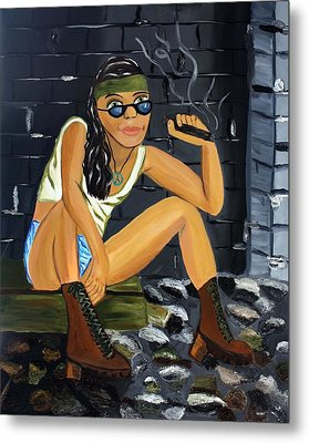Smoke Break  Metal Print by Victoria  Johns