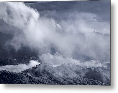 Smoky Mountain Vista In B And W Metal Print by Steve Gadomski