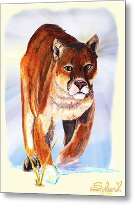 Snow Cougar Metal Print by Sherril Porter