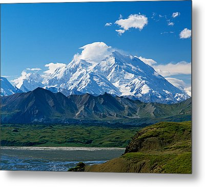 Snow-covered Mount Mckinley, Blue Sky Metal Print by Panoramic Images